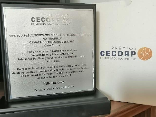 """La Cámara Colombiana del Libro, recibe reconocimiento por la iniciativa """"Apoyo a mis autores. Solo compro libros originales. No piratería"""""""