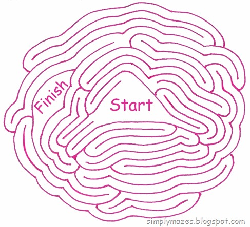 Maze Number 127: Corruption. A printable pink maze.