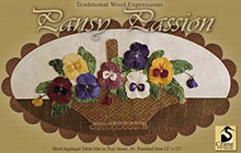"""Pansy Passion Wool Applique Table Mat 12"""" x 22"""""""