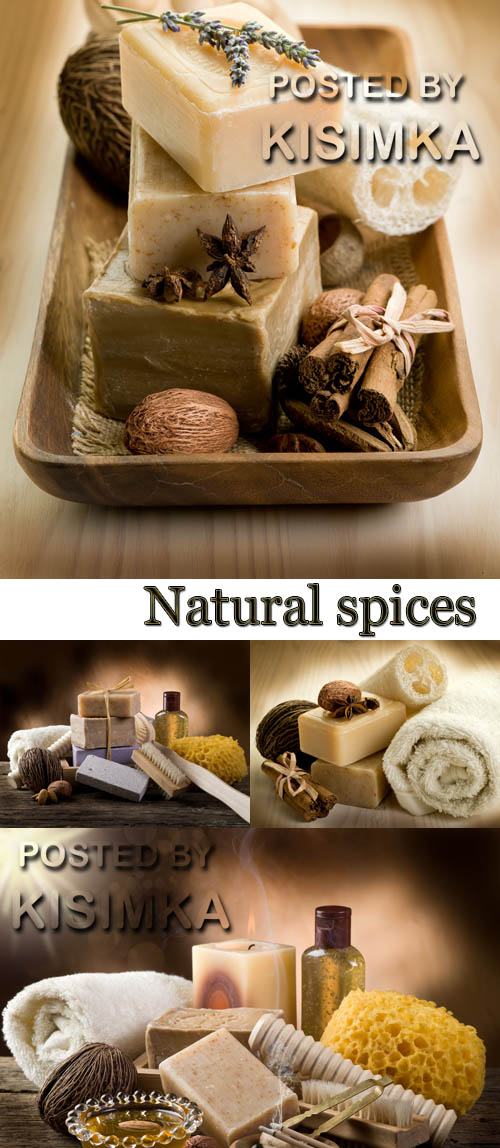 Stock Photo: Natural spices soap with bath accessories