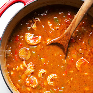 New Orleans Gumbo with Shrimp and Sausage.