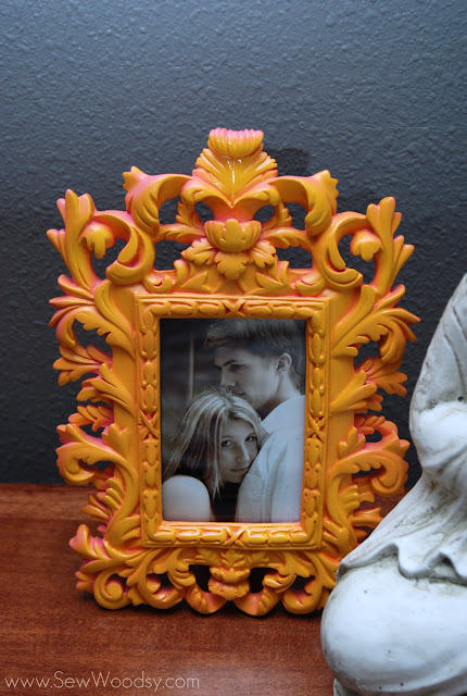 spray painted picture frame
