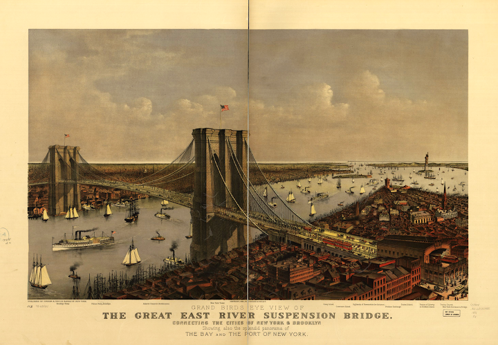 Grand birds eye view of the Great East River Suspension Bridge. Connecting the cities of New York & Brooklyn showing also the splendid panorama of the bay and part of New York.