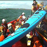 A kayak is transferred from the ILB to the ALB for transfer back to Knoll Beach - 12 April 2015