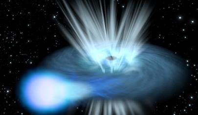 ilustração de ventos rápidos emanados do binário de raios X