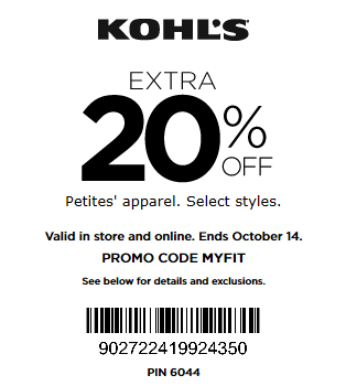 Kohls coupon extra 20% off Petites' Apparel