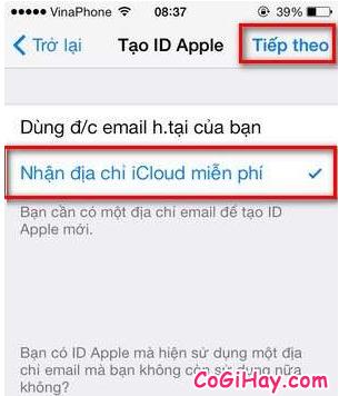 nhận địa chỉ iCloud miễn phí