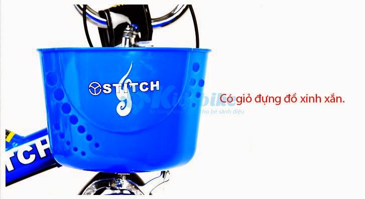 Xe đạp Stitch Kidco màu xanh nước biển giỏ xe