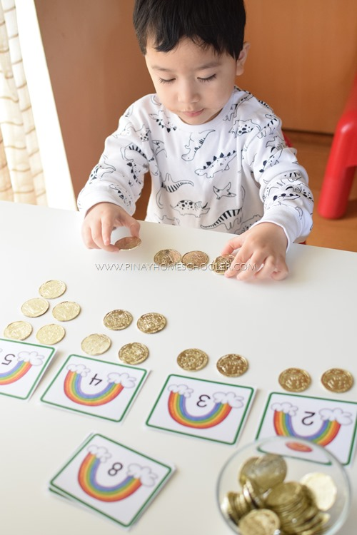 Rainbow Counting Cards and Gold Coins
