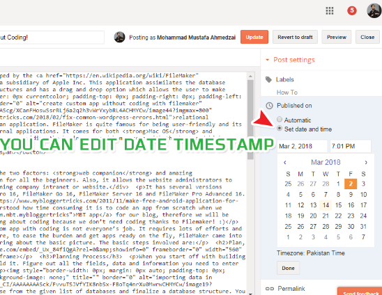 how to set date and time in blogger posts
