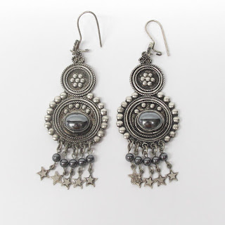 Sterling Silver & Black Stone Earrings
