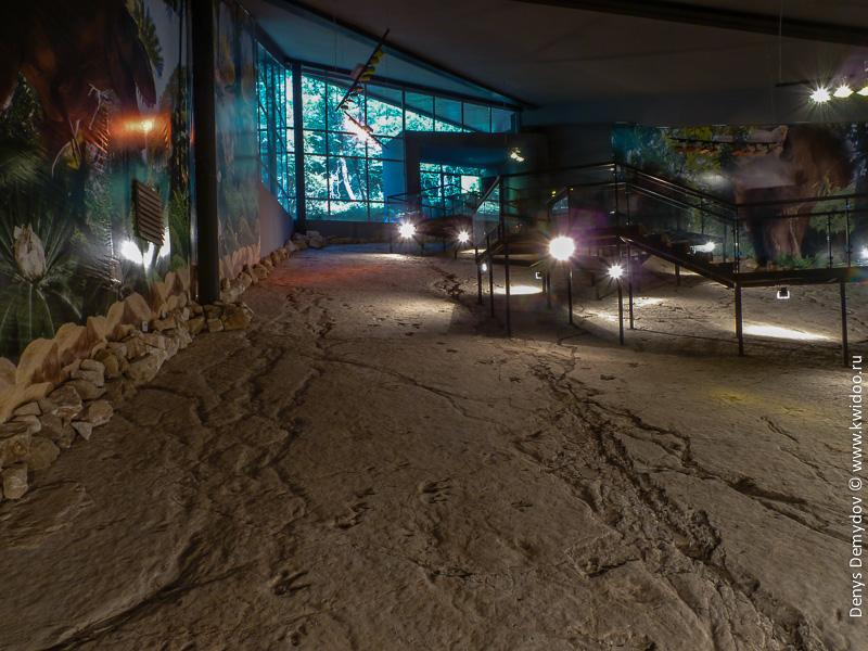 Павильон со следами динозавров в Грузии
