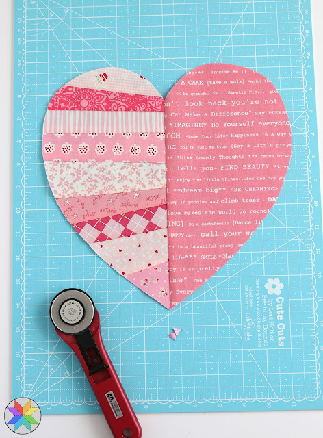 Heart quilt block tutorial by A Bright Corner - great scrappy quilt idea