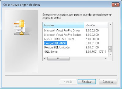 Crear origen de datos ODBC para acceso a PostgreSQL en PC con Windows 7