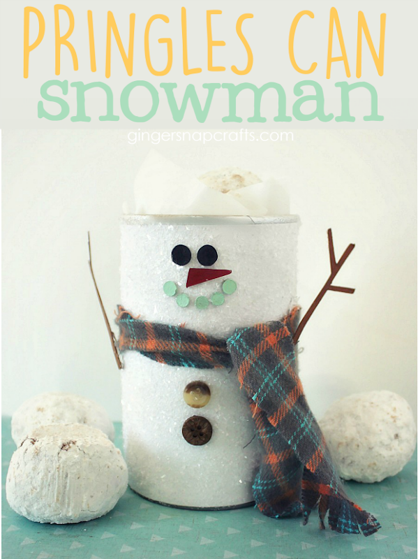 Pringles Can Snowman at GingerSnapCrafts.com #decoartprojects #snowman
