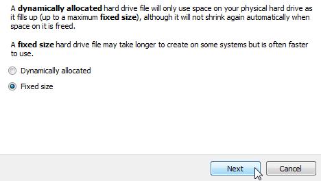 Memilih tipe alokasi hard drive virtual