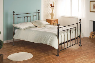 Good LB metal bed frame available in black chrome