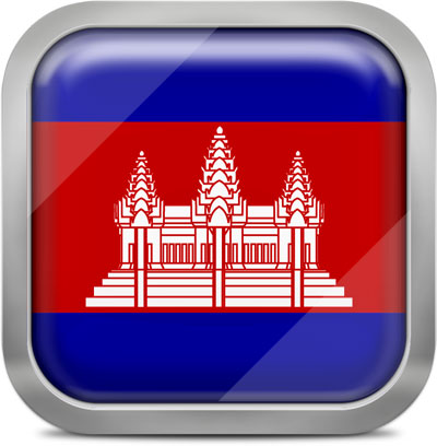 Cambodia square flag with metallic frame