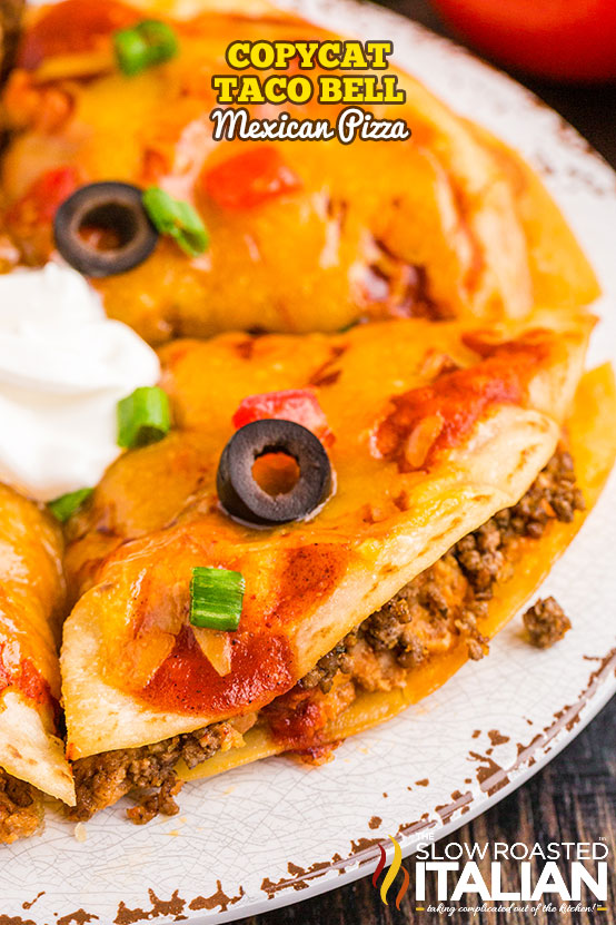 Copycat Taco Bell Mexican Pizza on a rustic plate