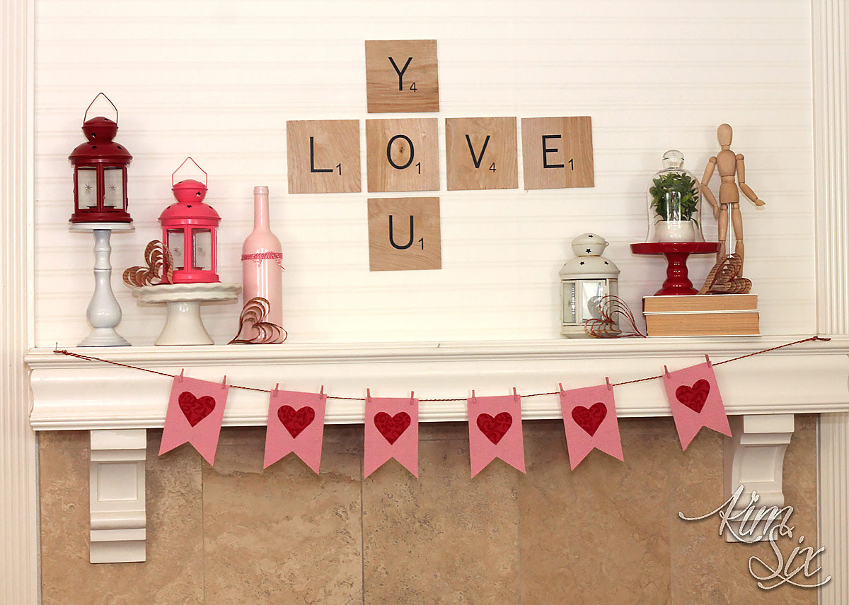 Scrabble Tile Valentines Day Mantel