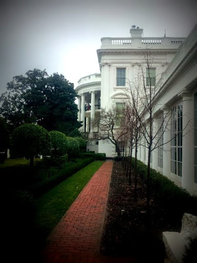 A White House Christmas - Looking out the windows from the East Visitor Landing. #WHHolidays #WHTravelBloggers