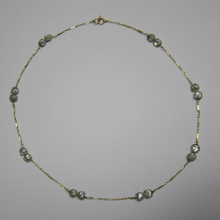 14 K Gold & Seed Pearl Necklace (Short)