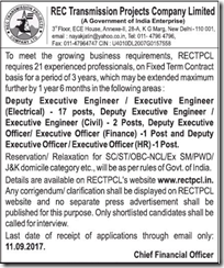 RECTPCL Advertisement 2017 www.indgovtjobs.in