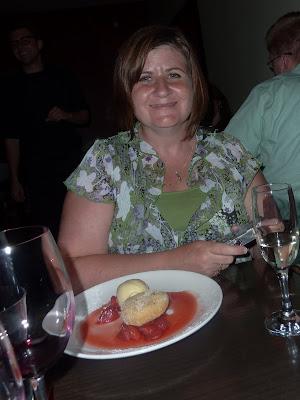 Kristi with dessert
