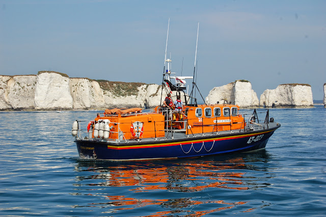 Poole's Tyne class lifeboat on exercise off the iconic Old Harry rocks in Poole Bay Sunday 14 July 2013 Photo: RNLI Poole/Dave Riley