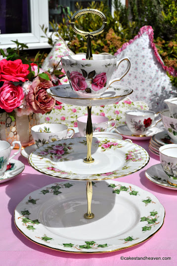 Mismatched pink and green vintage teacup topped 3 tier cake stand