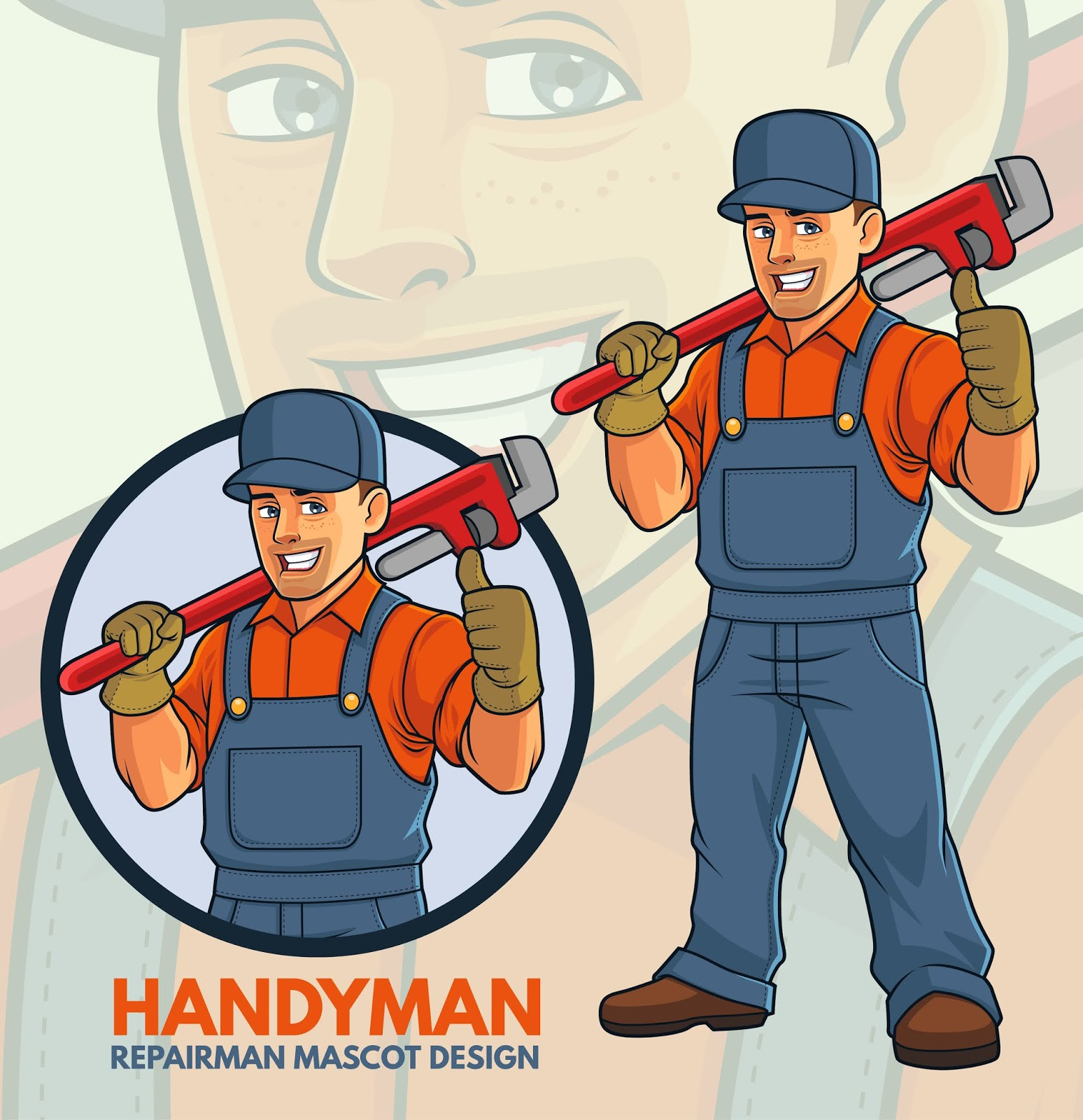 Repairman Mascot Design Free Download Vector CDR, AI, EPS and PNG Formats
