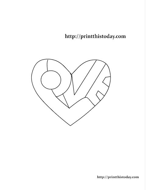 Word Love Written Inside Heart Coloring Page