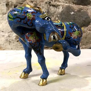 Cloissone Blue Large Angled Head Horse