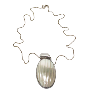 Sterling Silver Necklace & Mother Of Pearl Pendant
