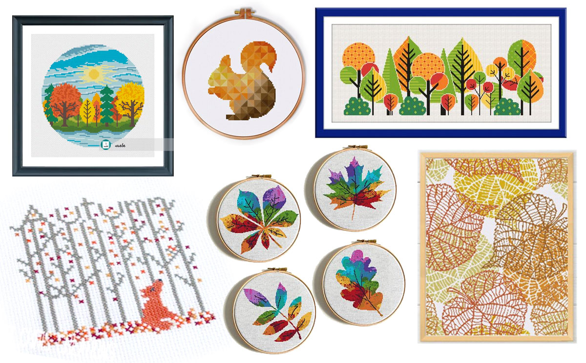 15 modern fall autumn cross stitch designs