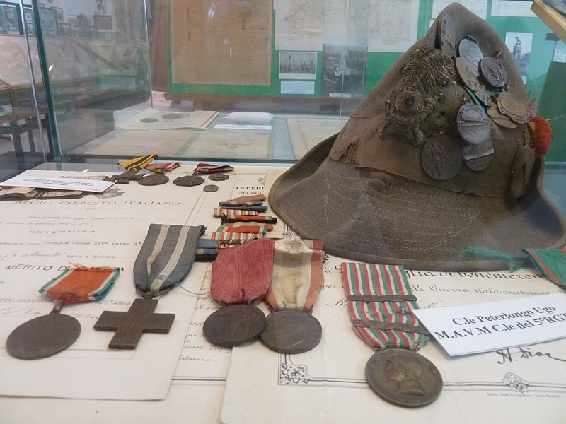 Alpini hat and medals of Ugo Peterlongo at Museo Storico degli Alpini - Trento, Italy