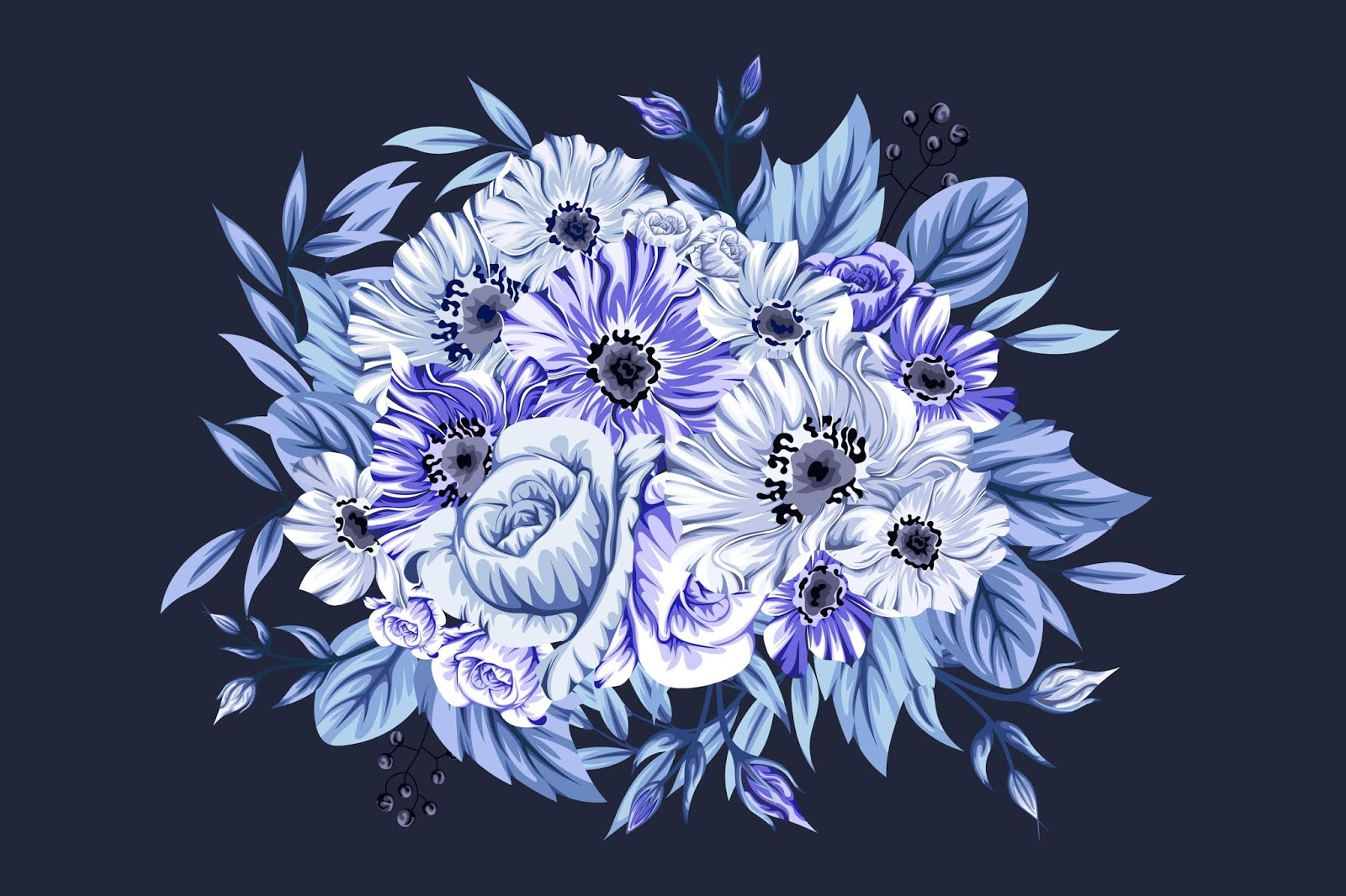 Beautiful Icy Blue Bouquet Flowers Free Download Vector CDR, AI, EPS and PNG Formats