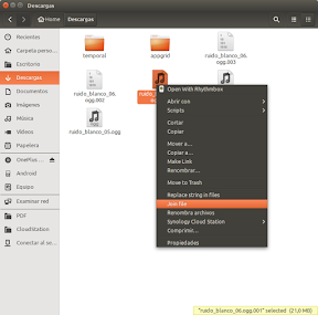 Dividir archivos en varias partes con Nautilus-lxsplit en Ubuntu - unir
