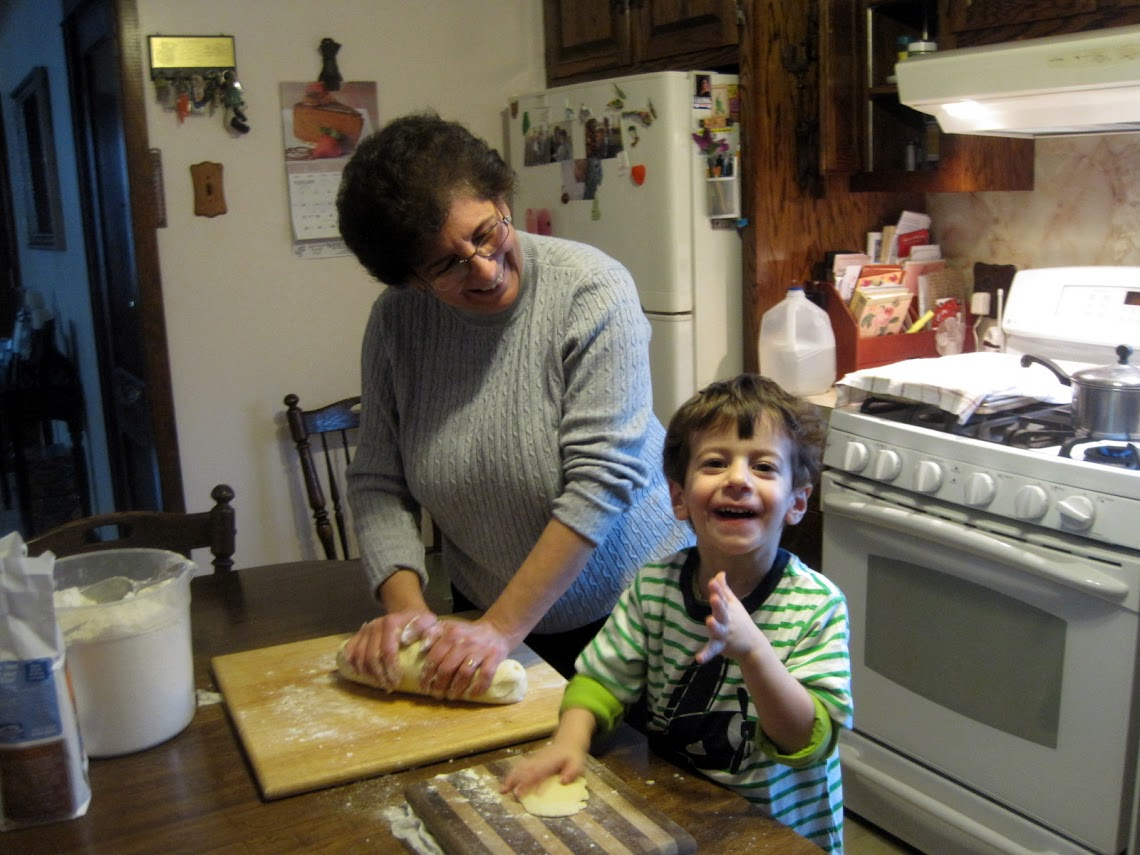 Nonna kneading the dough gently