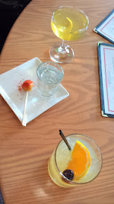Portland Penny Diner drinks - cocktail on draft and a Short Order (Pisco & Grilled Pineapple with Espelette)