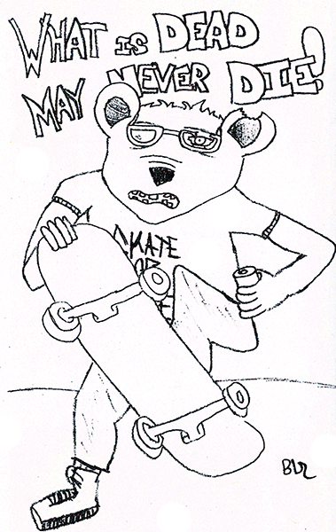 Zombie Bear Skateboarder - What Is Dead May Never Die!