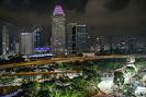 Marina Bay circuit at Singapore with skyline and highway