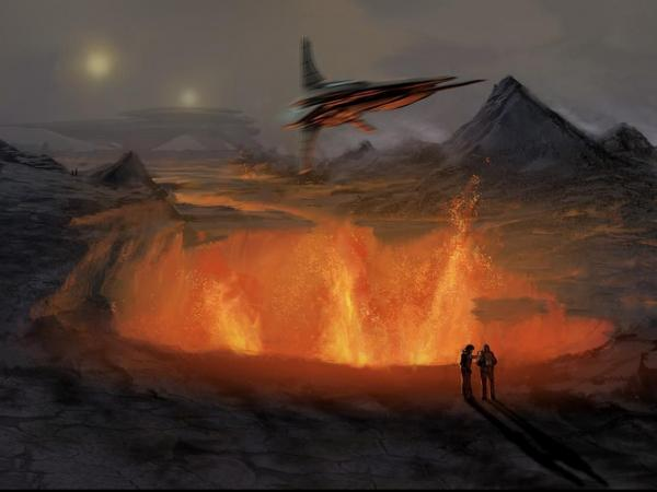 Over Volcanoes Spaceship, Fiction 1
