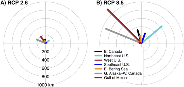 Regional difference in projected distribution shifts of fish species under two global warming scenarios, showing the mean direction and magnitude of projected centroid shifts over the 21st century for low uncertainty species originating from seven regions of the North American shelf for (A) RCP 2.6 and (B) RCP 8.5. Graphic: Morley, et al., 2018 / PLOS ONE