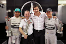 Lewis Hamilton, Paddy Lowe, Toto Wolff and Nico Rosberg