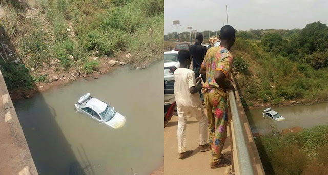 Driver Narrowly Escapes Death After His Car Plunges Into A River In Kwara (Photos)
