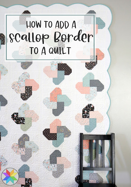 How to add a scallop border to a quilt - a tutorial by A Bright Corner - an easy way to make a scalloped edge on a quilt