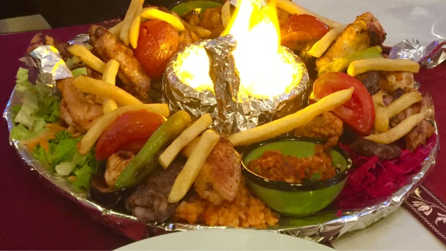Turkish mixed grill platter with lamb, chicken and rice