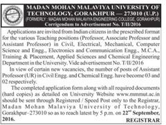 MMMUT Gorakhpur Corrigendum Notice 2016