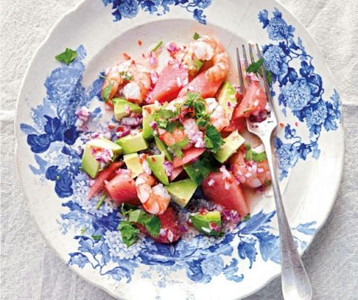 Watermelon, prawn & avocado salad